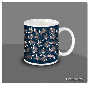 Kubek NatiMug Foxes Marrom