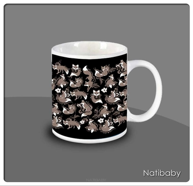 Kubek NatiMug Foxes Nero