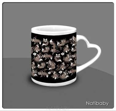 Kubek NatiMug Heart Foxes Nero